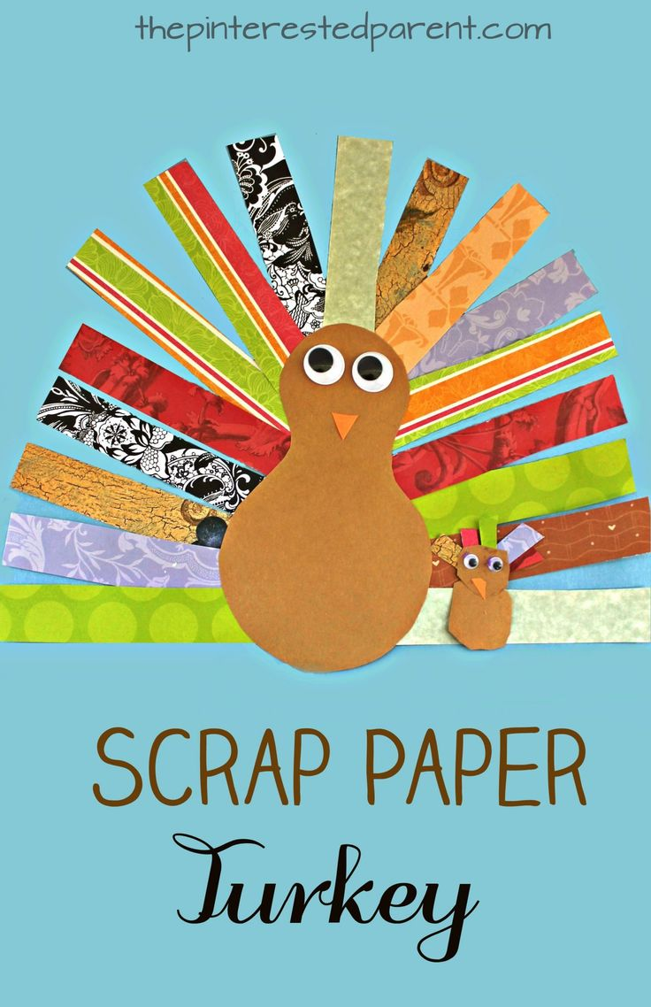 This is a great cutting skills activity and craft. Scrap Paper Turkey Craft for kids. Thanksgiving arts