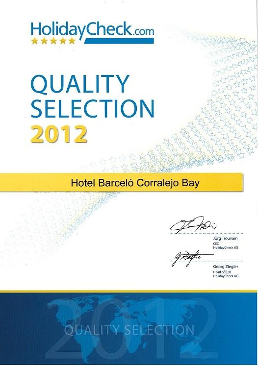 HolidayCheck ha galardonado con el Certificado Selección de Calidad ...