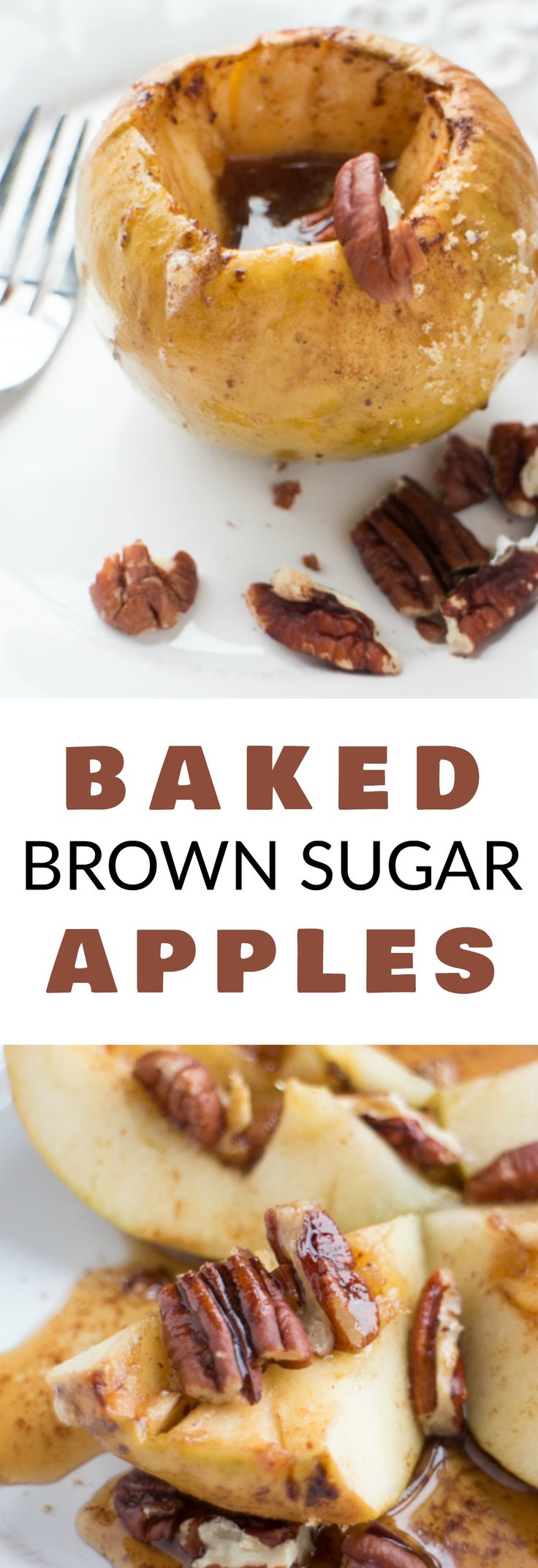 Baked BROWN SUGAR APPLES are DELICIOUS! This easy recipe bakes the apples in the oven stuffed with a cinnamon sugar butter mixture! The taste and smell of these Baked Apples is amazing! It's the perfect healthy apple recipe year round, but I especially love it during apple picking season!