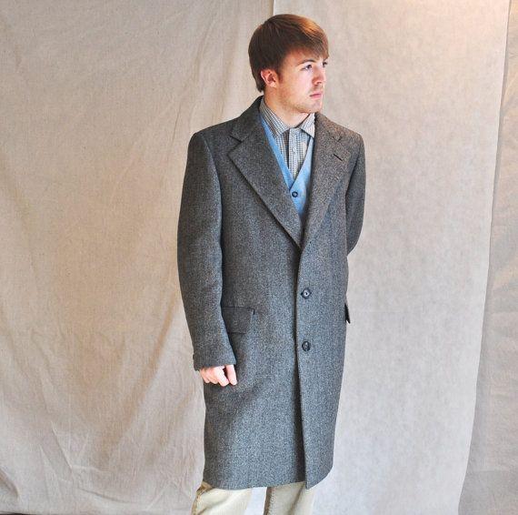 Vintage Mens Overcoat Long Coat Herringbone by ArmorOfModernMen, $105