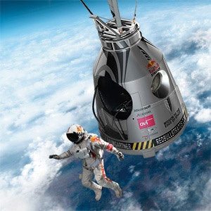 Felix Baumgartner in the first second in his 13.6 mile skydive.