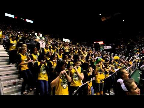 """The George Mason University pep band """"Doc Nix and the Green Machine"""" play a mash-up of Killing in the Name Of / Bulls on Parade at the final home game of the 2010-2011 men's basketball season."""