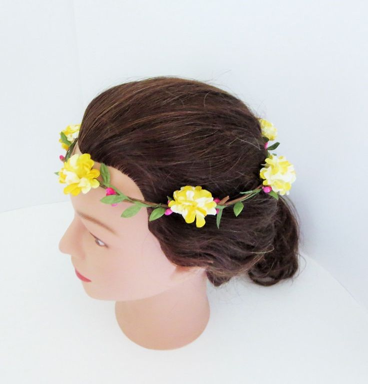 Yellow Carnation Floral Hair Crown, Bohemian Hair Bands, Festival Crowns, Wedding Flower Crown, Flower Girl Crown by TiStephani on Etsy