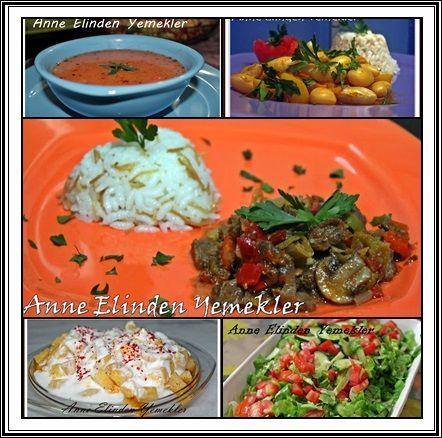 Tarhana Çorbası Mantarlı Et Sote Şehriyeli Pirinç Pilavı Zeytinyağlı Barbunya Yoğurtlu Patates Yeşil Salata