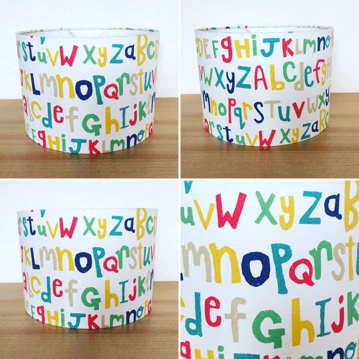 #new handmade lampshade 'letters play! By Scion uk. Perfect for any nursery or playroom!