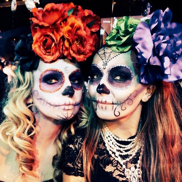 Sugar Skulls on myself and my sister, hair, makeup & floral headpiece by www.unveilthebeauty.com.au