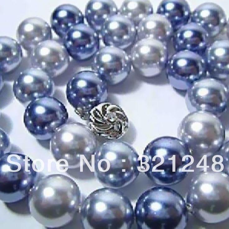 Многоцветный имитация-жемчужина 12 мм синий белые круглые стеклянные бусы diy подвески женщины ожерелье ювелирных изделий около 50 г 18 дюймов GE4588