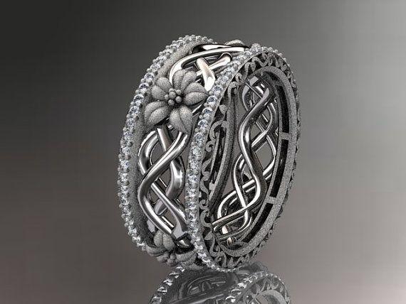 14k  white gold diamond flower wedding ring,engagement ring ADLR260