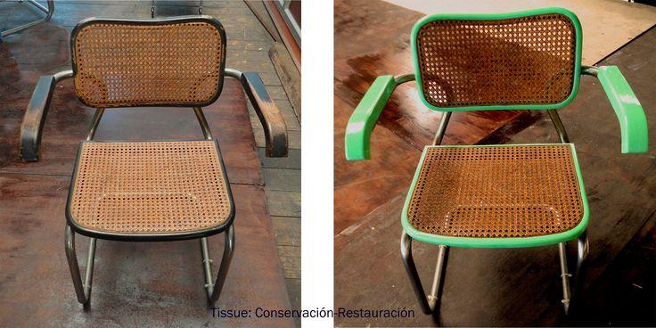silla antigua (izquierda) transformado en silla moderno (derecha) de www.tissuerestauracion.com