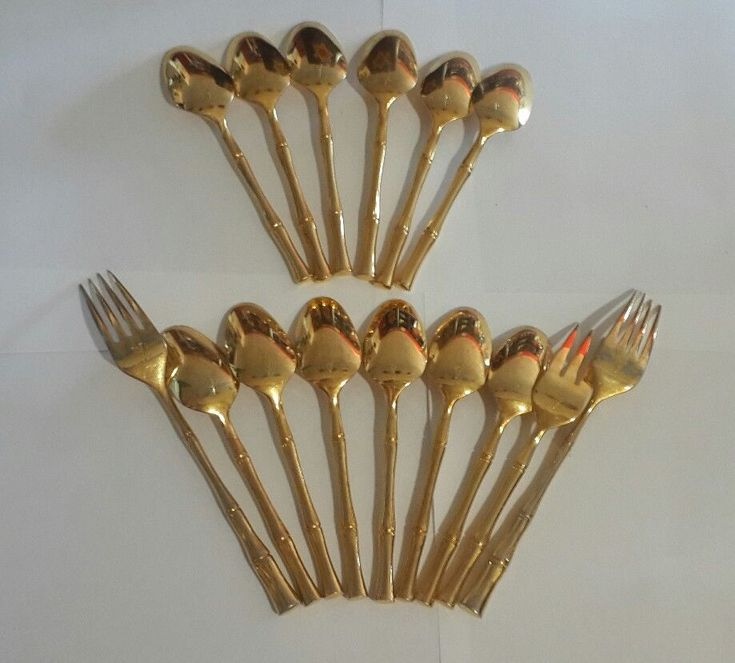 Gold Cane Bamboo Cutlery Hollywood Regency Vs Viners