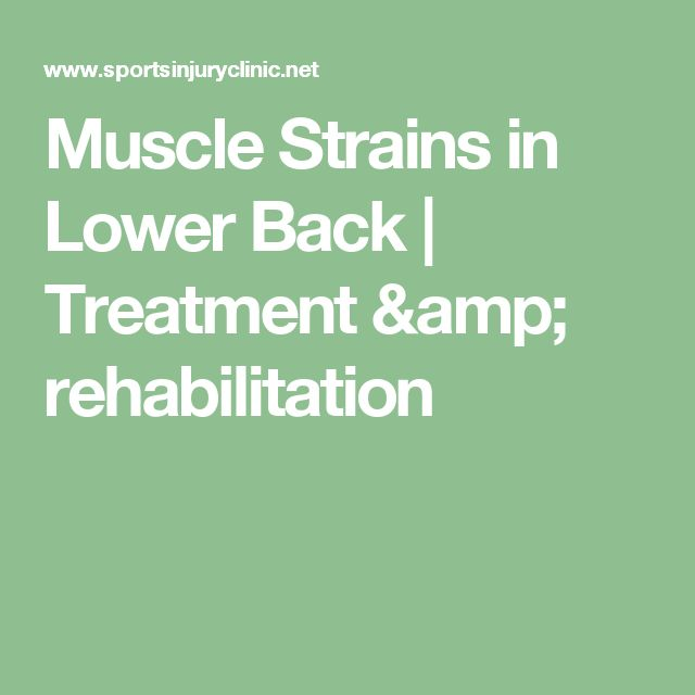 Muscle Strains in Lower Back | Treatment & rehabilitation