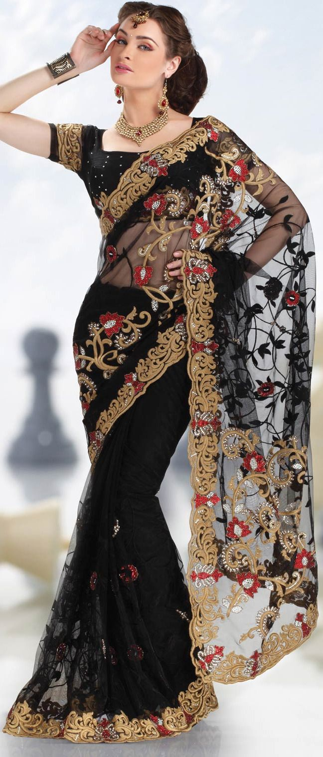 #Black Net #Saree with Blouse
