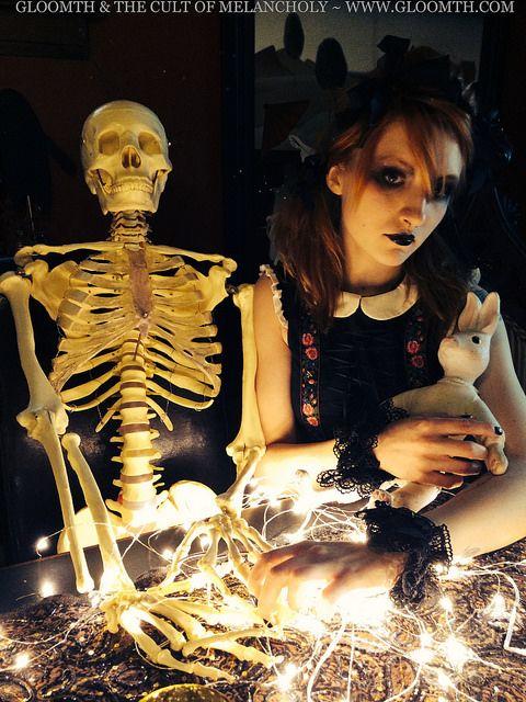 Skeleton Valentine by gloomth, via Flickr Gloomth's Folk dress worn by model Syringe, and a skeleton.