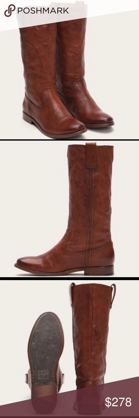 Frye anna mid pull on boots cognac size 9