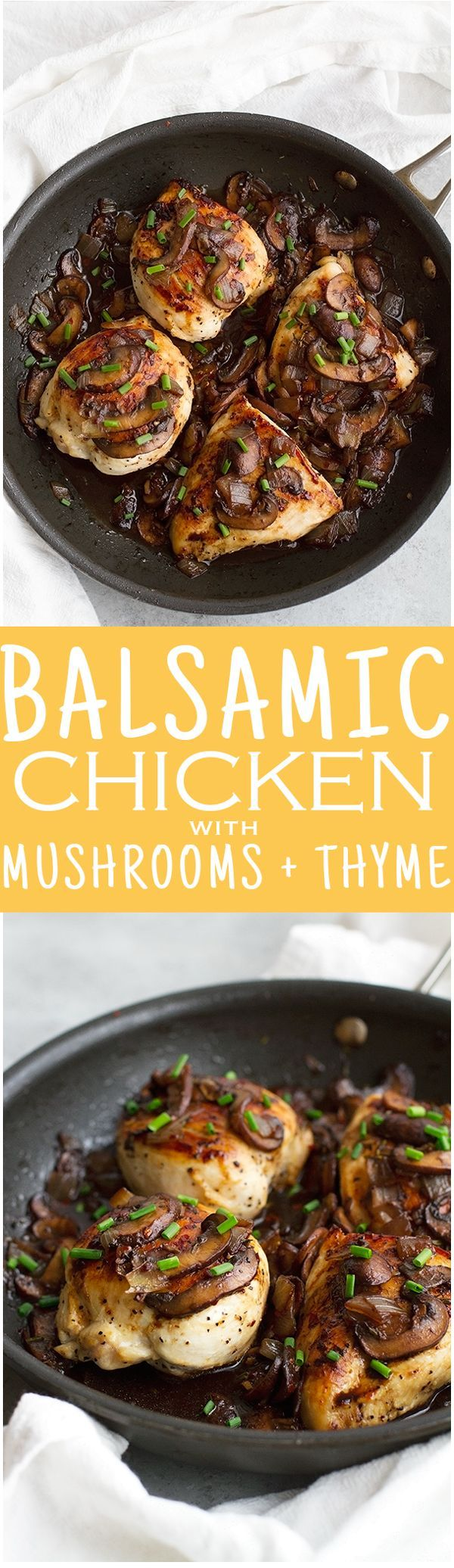 Balsamic Chicken with Mushrooms and Thyme - 30 minutes and super easy to pull together. Perfect for weeknights! #chickendinner #balsamicchicken #roastedchicken   Littlespicejar.com