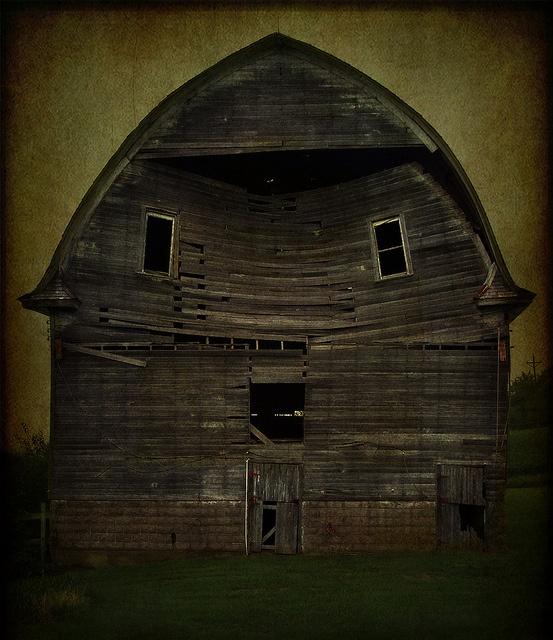 barn with a face