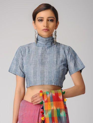 e3b7040b38bd01 Indigo-Ivory Handloom Cotton Tie-up Blouse