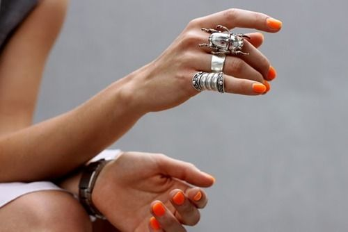 Polish, rings!Orange, Fashion, Nails Colors, Nailpolish, Nails Polish, Neon Nails, Silver Jewelry, Silver Rings, Nails Colours