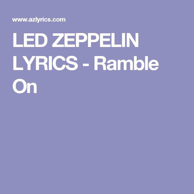 LED ZEPPELIN LYRICS - Ramble On