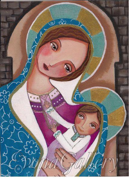 Madonna and Child Catholik Art  Print Blessed by Evonagallery, $15.00