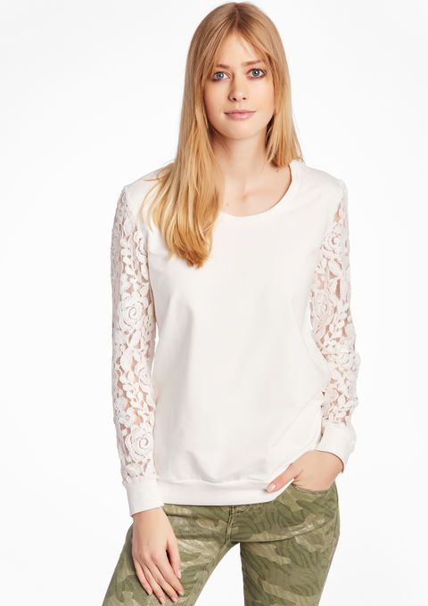 Lola Liza Effen sweatshirt met lange kanten mouwen - OFFWHITE longsleeve shirt