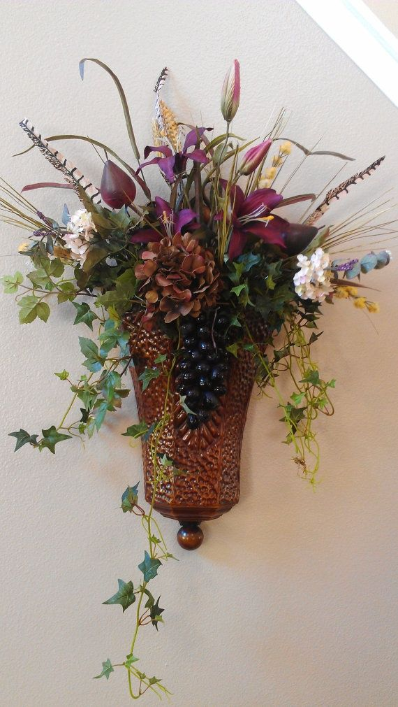 78 best Wall Flower Arrangments images on Pinterest ... on Wall Sconce Floral Arrangements Arrangement id=26595