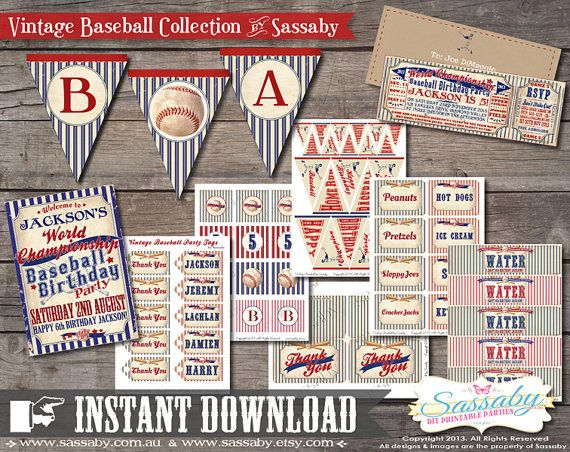 Vintage Baseball Party Collection INSTANT DOWNLOAD by Sassaby