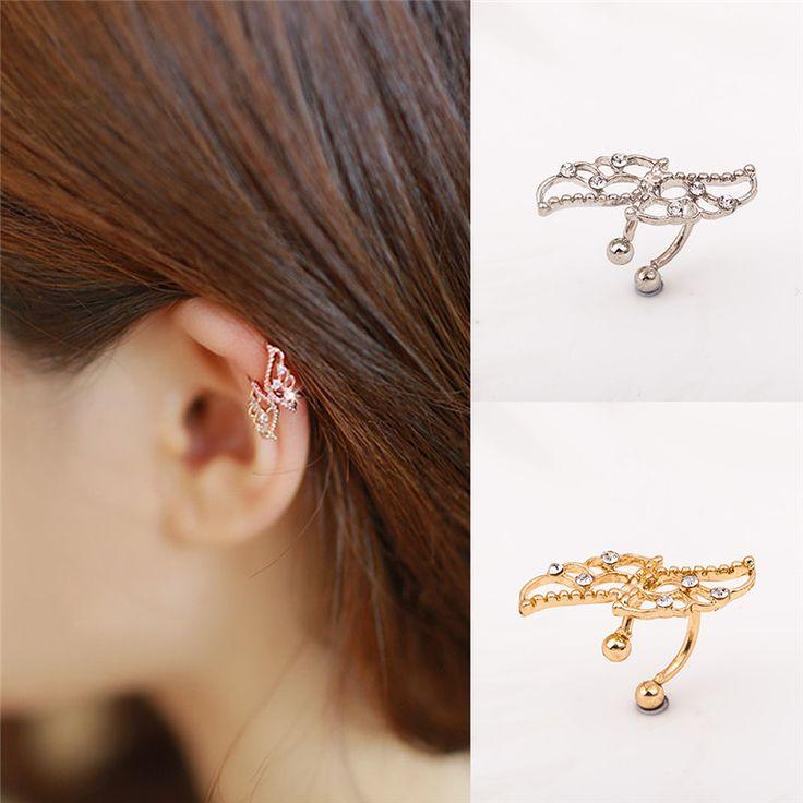 1PC Women Wing Crystal Ear Cuff Wrap Clip Bone Floder Earrings aretes de mujer ohrringe Hot Sale