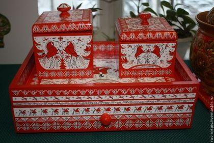 """Набор для чая """"Северный"""" - ярко-красный,мезенская роспись,комплект,набор для кухни"""