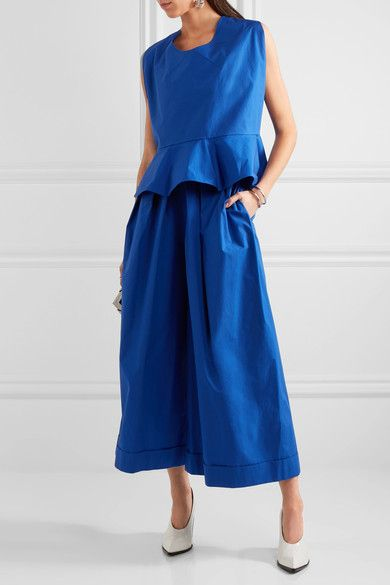 DELPOZO - Pleated Cotton-poplin Wide-leg Pants - Royal blue - FR40