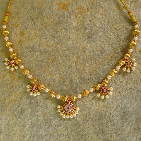 Moti Haar, traditional design in gold and pearl for a necklace, craft from…