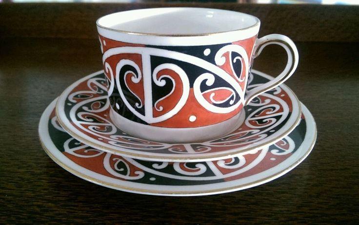 Antique Royal Doulton  Maori Art  Kowhaiwhai 1907-1920 s Trio - plate saucer cup