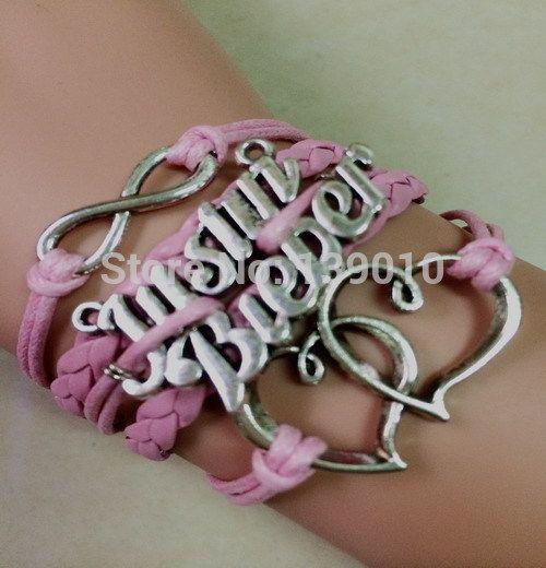 Старинное серебро двойное в форме сердца джастин бибер бесконечность розовая кожа веревка манжеты очарование упаковка браслеты браслеты мода женщины мужчины ювелирные изделия