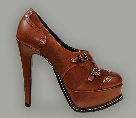 LEATHER AND SUEDE PLATEAUX CARAMEL ANKLE BOOT: Via35