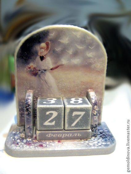 Купить вечный календарь Ромашковое поле - календарь ручной работы, ромашки, время, красота мира