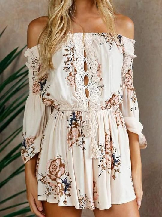 68992dfe8 Sexy Off Shoulder Long Sleeve Floral Print Boho Rompers – boholooks