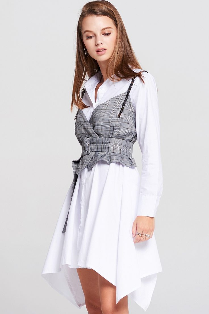 Keri Shirt Dress With Check Vest Discover the latest fashion trends online at storets.com