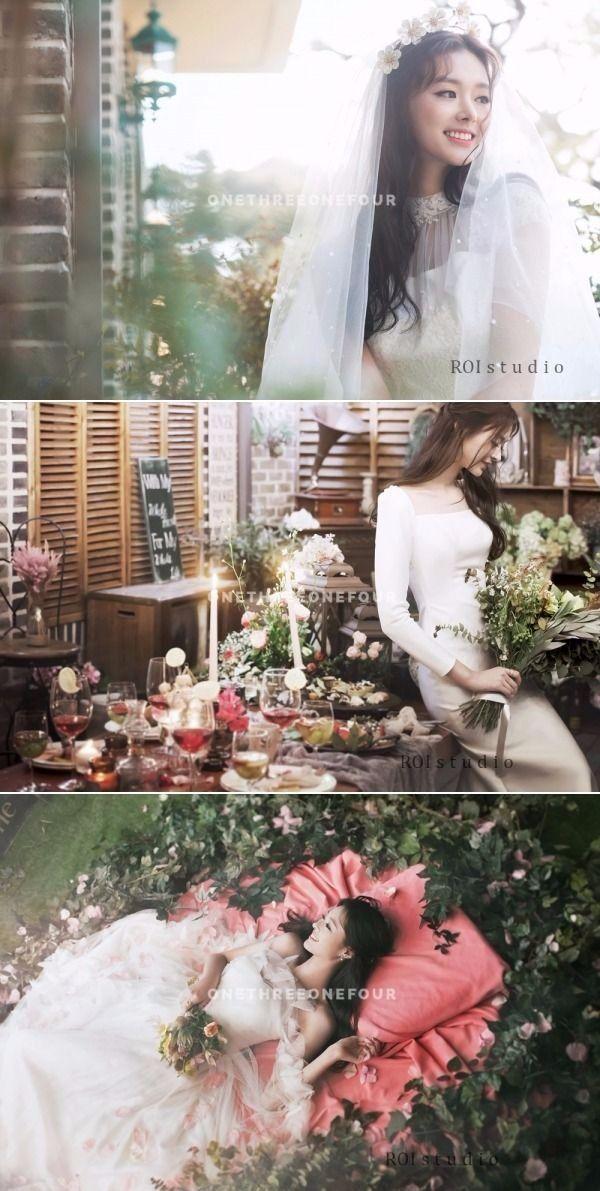 Gorgeous Bridal Poses Every Bride Should Take At Her Pre-Wedding - Korean Studio Pre-wedding Photoshoot - Roi Studio, Bride, Indoor, Pose, Floral