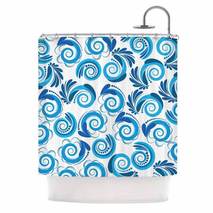 Kess InHouse Maria Bazarova Waves White Blue Shower Curtain