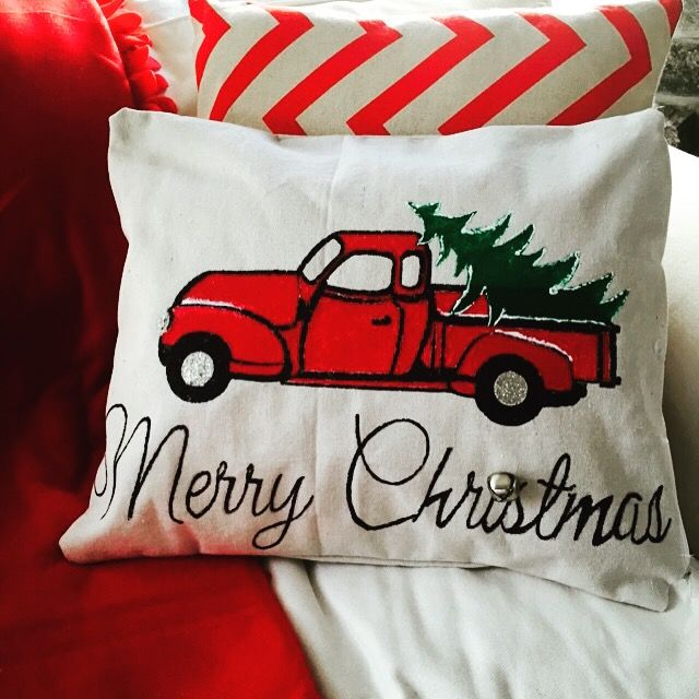 Christmas Pillows -DIY Vintage Truck Christmas Tree Pillow