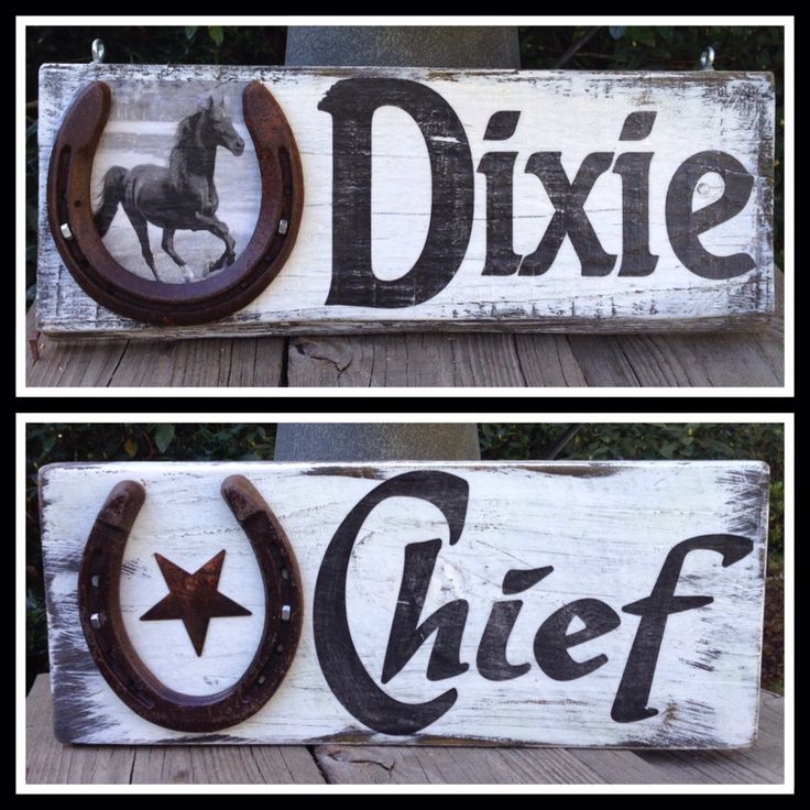 Custom stall signs. Personalized with the name and a picture of the horse www.etsy.com/shop/RUSTYHORSESHOESIGNS