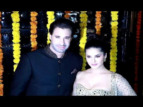 Sunny Leone with husband at Ekta Kapoor's house for Diwali party 2016.