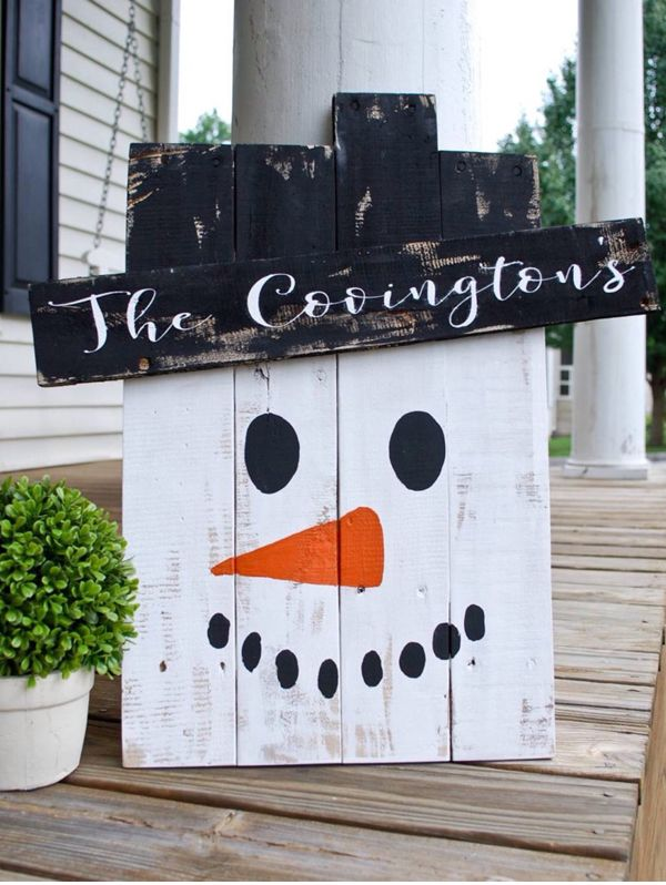 Adorable handmade Personalized Snowman Yard Art made out of a pallet! Perfect Christmas decor for outside or inside.