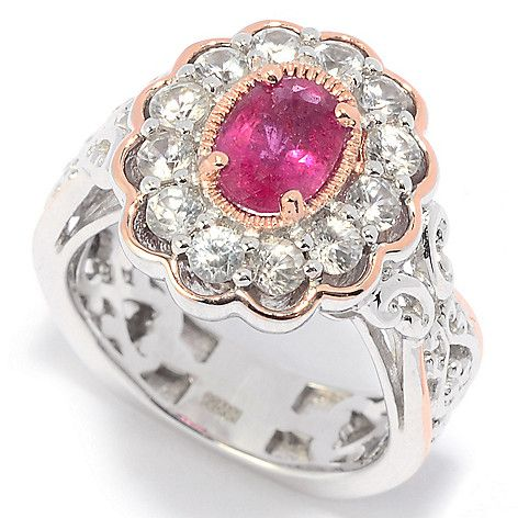 157-237 - Gems en Vogue 1.90ctw Rubellite & White Zircon Flower Ring