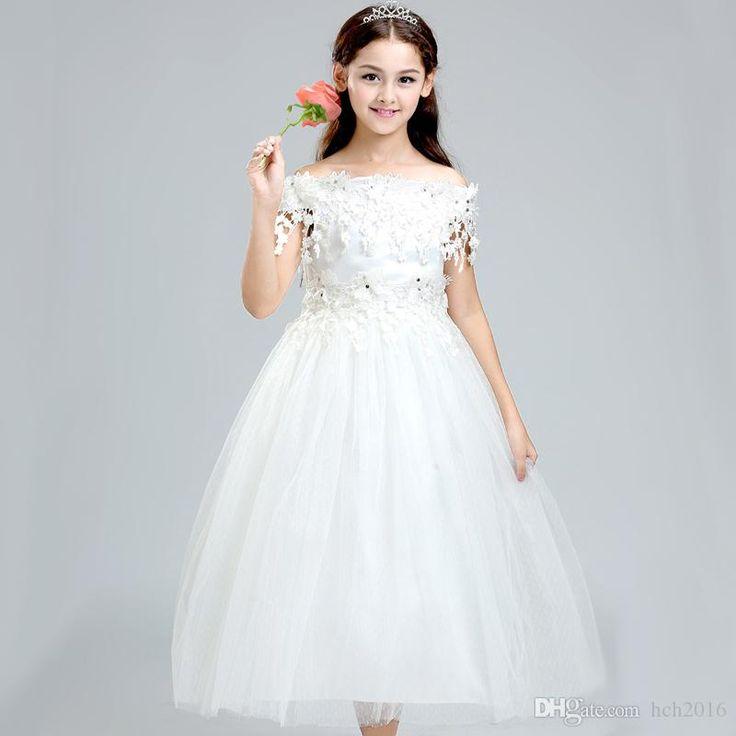 weddings events kids formal wear flower girls dresses princess lace flower girl white dress children