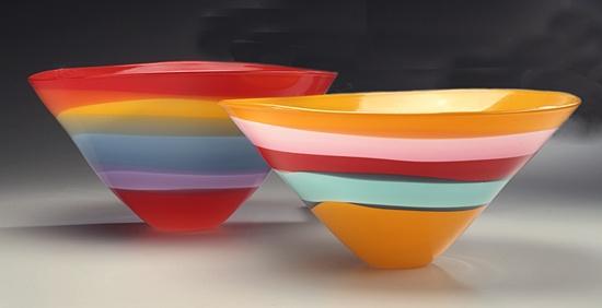 """Ribbon Stripe Bowl"" Art Glass Vessel Created by Jason Lawson"
