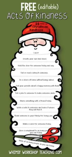 FREE Christmas Santa craft activity idea! Students trim Santa's beard each day with an act of kindness (editable) at Whimsy Workshop Teaching.com