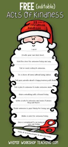 FREE Christmas Santa craft activity idea! Students trim Santa's beard each day with an act of kindness (editable) at Whimsy Workshop Teaching.com