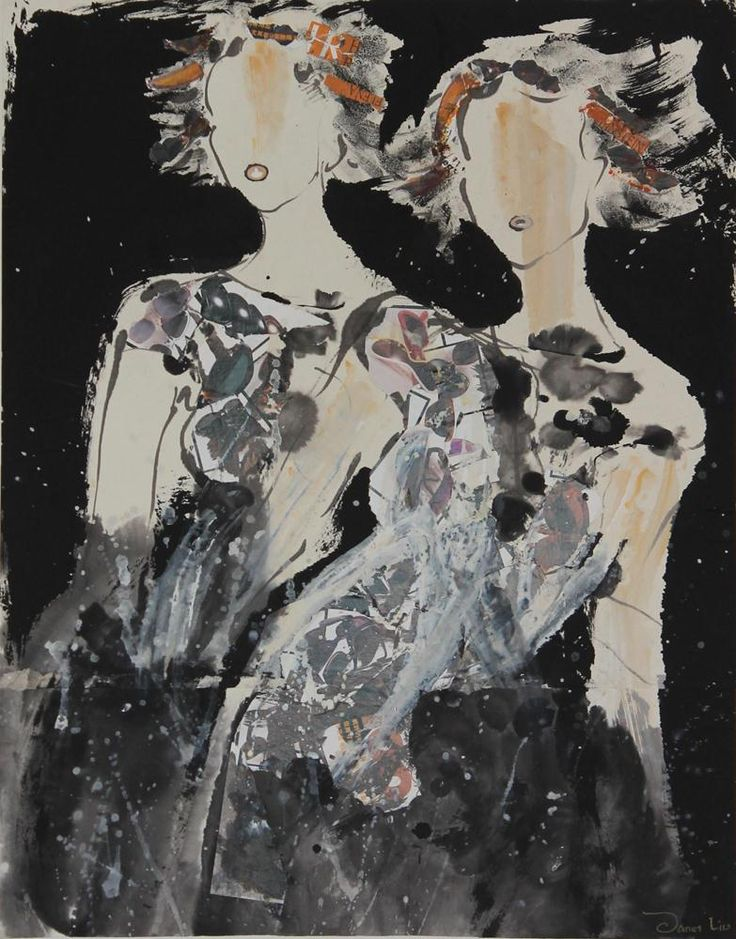Sister, 2001, 56x71cm<br> Ink/mixed media on rice paper/canvas