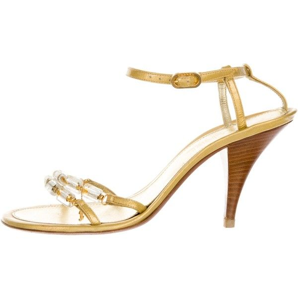 Pre-owned Chanel Embellished Metallic Sandals ($175) ❤ liked on Polyvore featuring shoes, sandals, gold, beaded shoes, beaded sandals, embellished shoes, metallic sandals and leather sandals